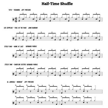 Half Time Shuffle Grooves - 6 drum transcriptions