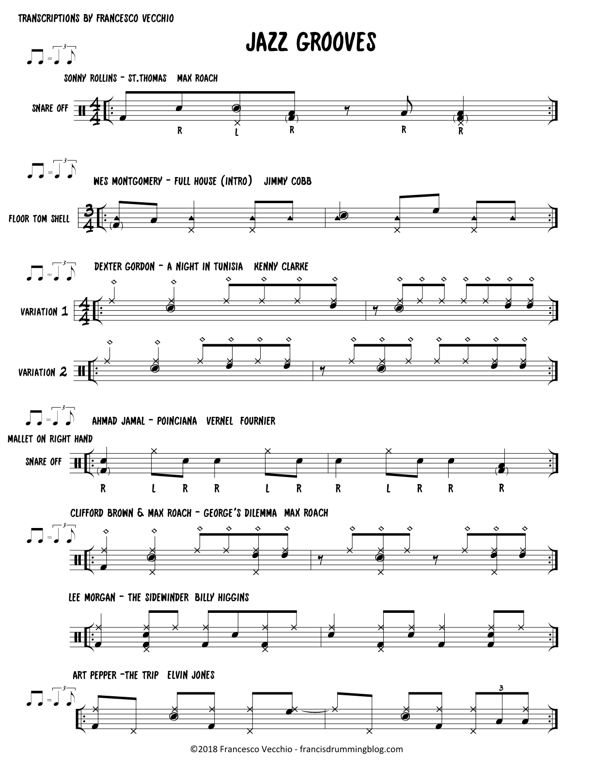 jazz grooves transcriptions