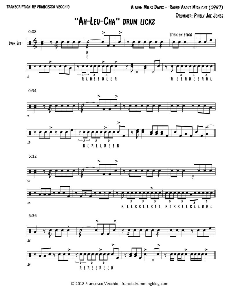 philly joe jones drum transcription