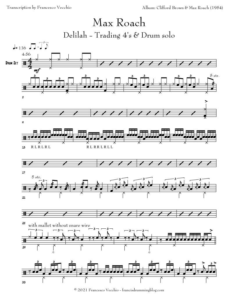 max roach delilah drum solo transcription