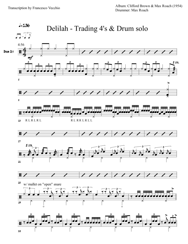 max roach delilah drum sheet music