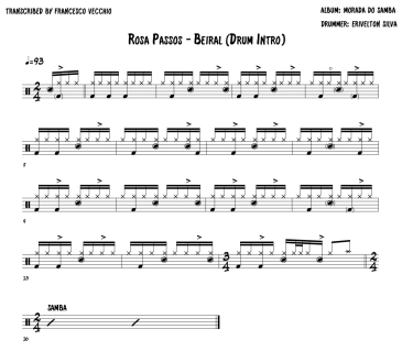 Rosa Passos - Beiral intro drum transcription