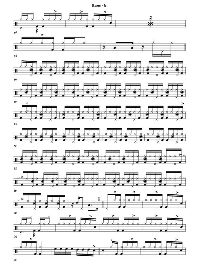 Djavan - Lei drum transcription