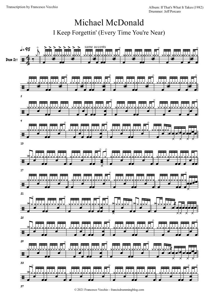 jeff porcaro i keep forgettin drum transcription