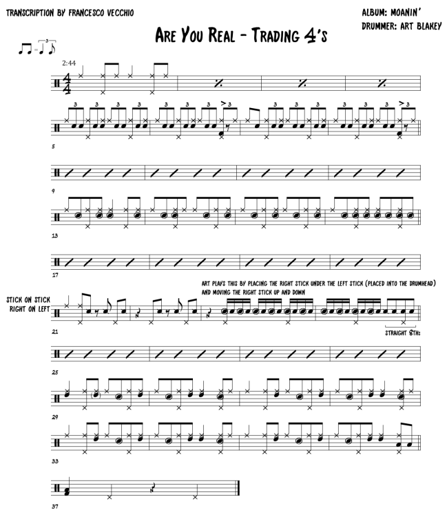 Art Blakey - Are You Real - drum trading fours transcription