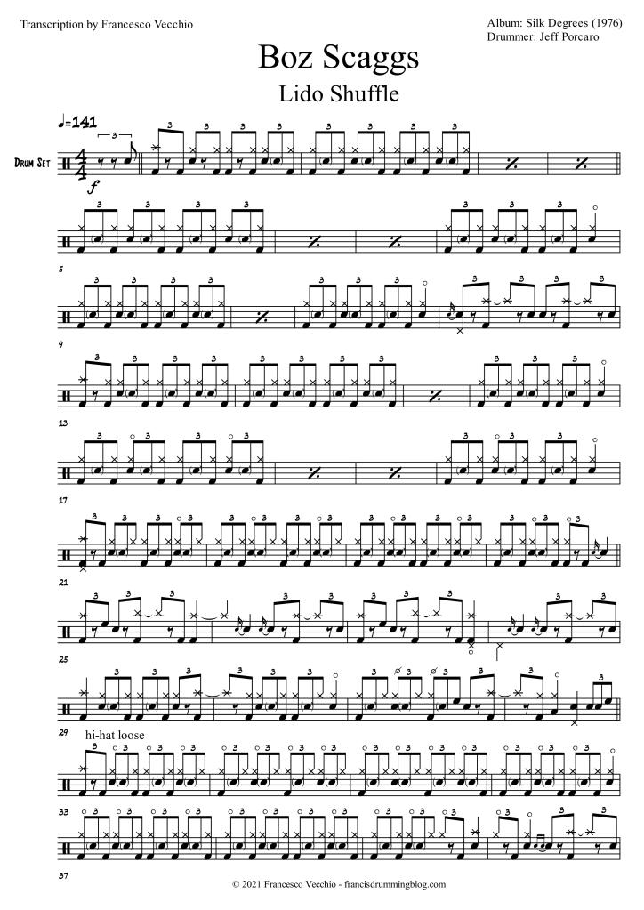 jeff porcaro lido shuffle drum transcription