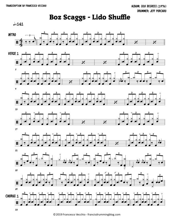 boz scaggs lido shuffle drum sheet music