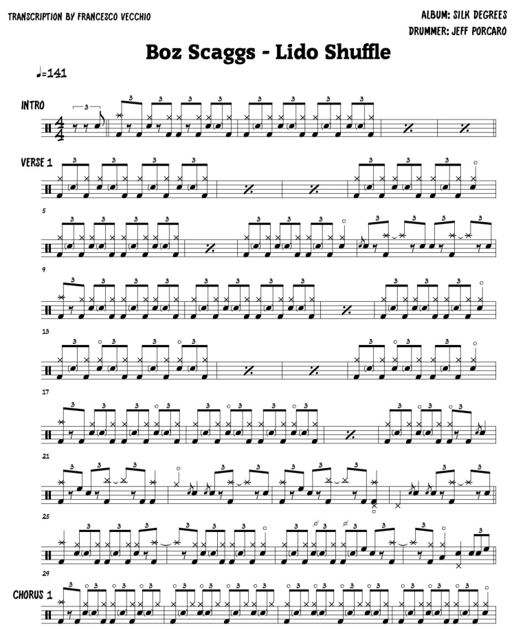 Boz Scaggs - Lido Shuffle - drum sheet music, drum transcription