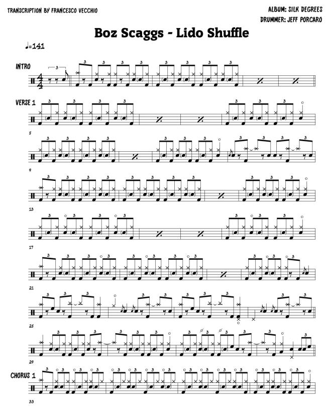 Boz Scaggas - Lido Shuffle drum sheet music, drum transcription
