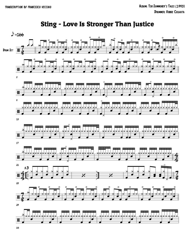 Sting – Love Is Stronger Than Justice (Drum Sheet Music