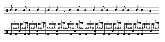 Quintuplets exercise - Progressive steps to syncopation by Ted Reed