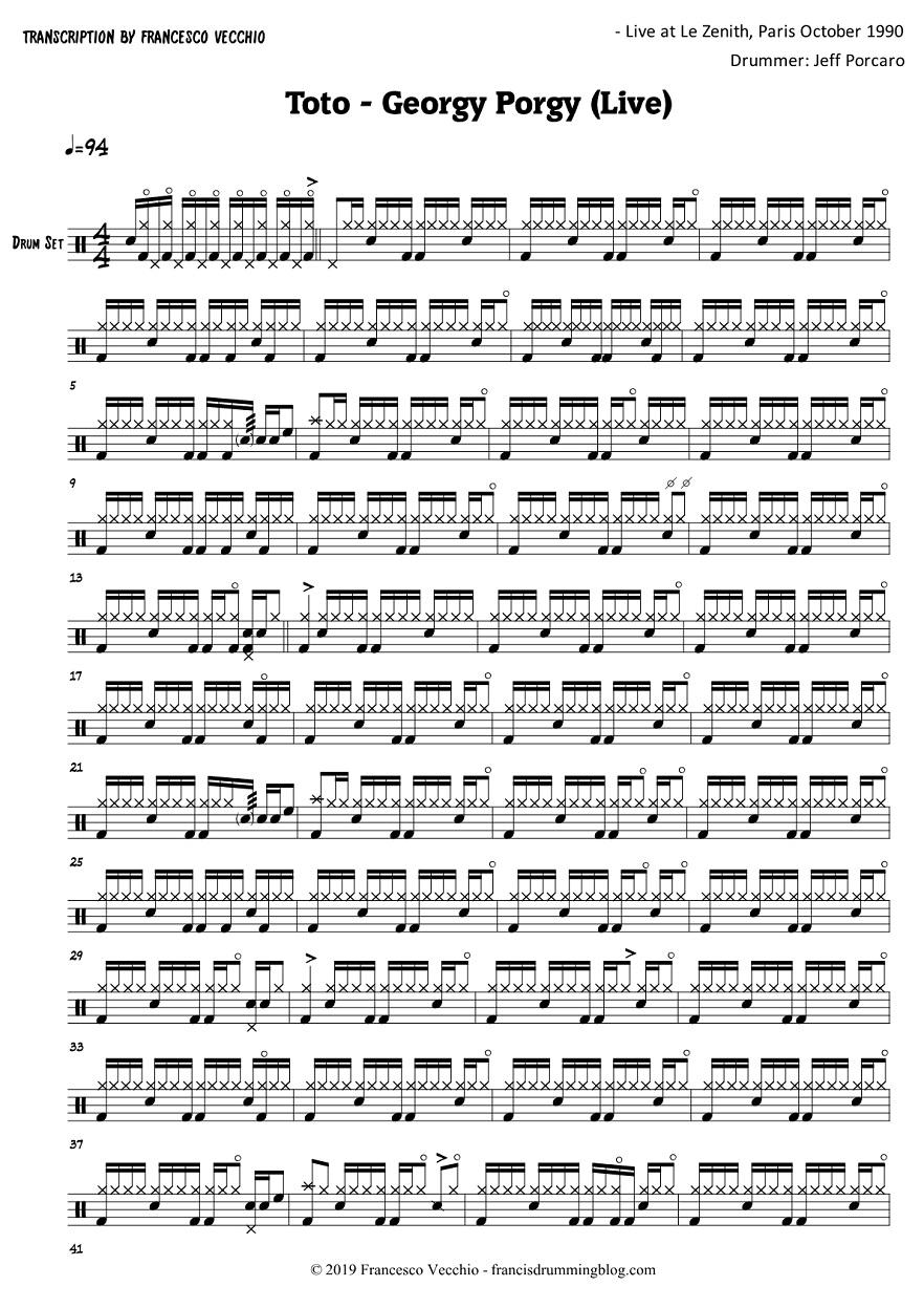 toto georgy porgy drum transcription