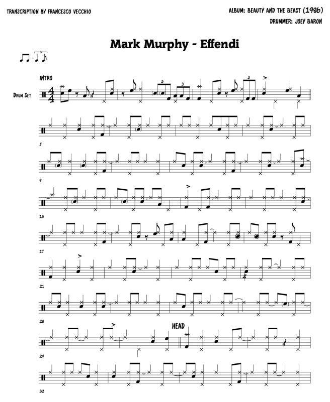 Joey Baron - Effendi - drum sheet music, drum transcription