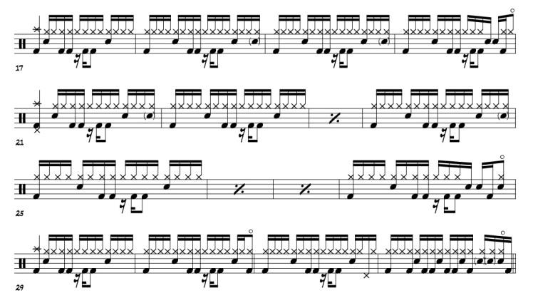 David Bowie Lazarus drum transcriptions