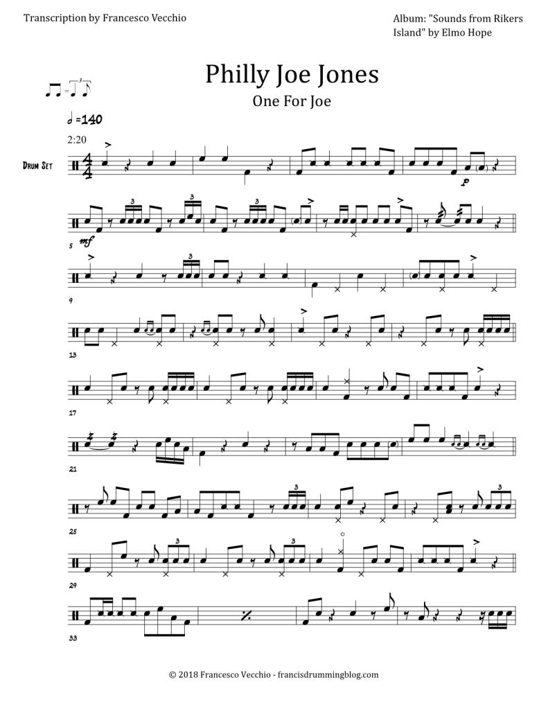 philly joe jones one for joe drum solo transcriptions