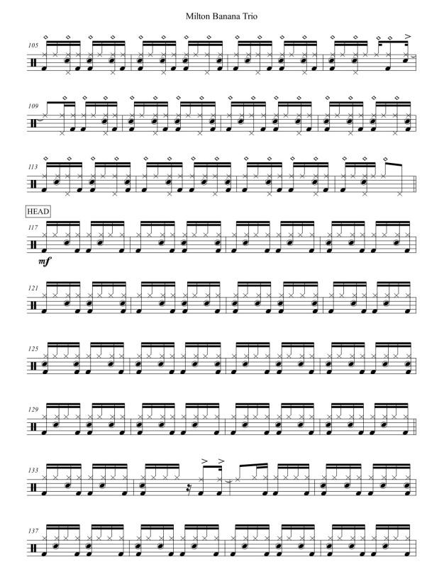 Milton Banana Trio - Serrado - drum transcription - drum sheet music