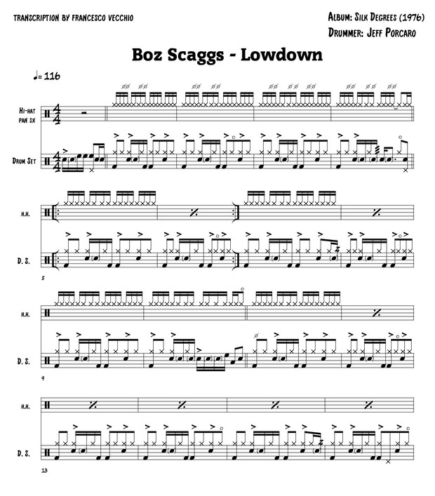 boz scaggs lowdown drum sheet music drum transcription