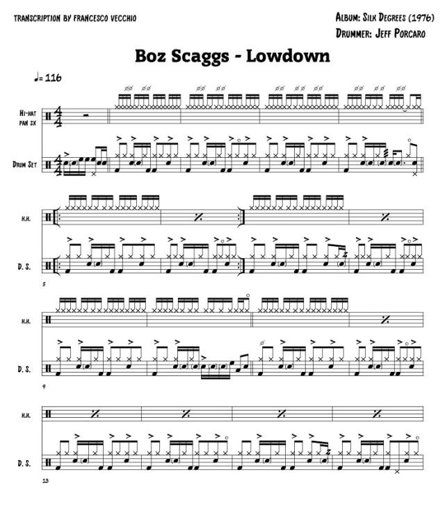 boz scaggs lowdown drum transcription