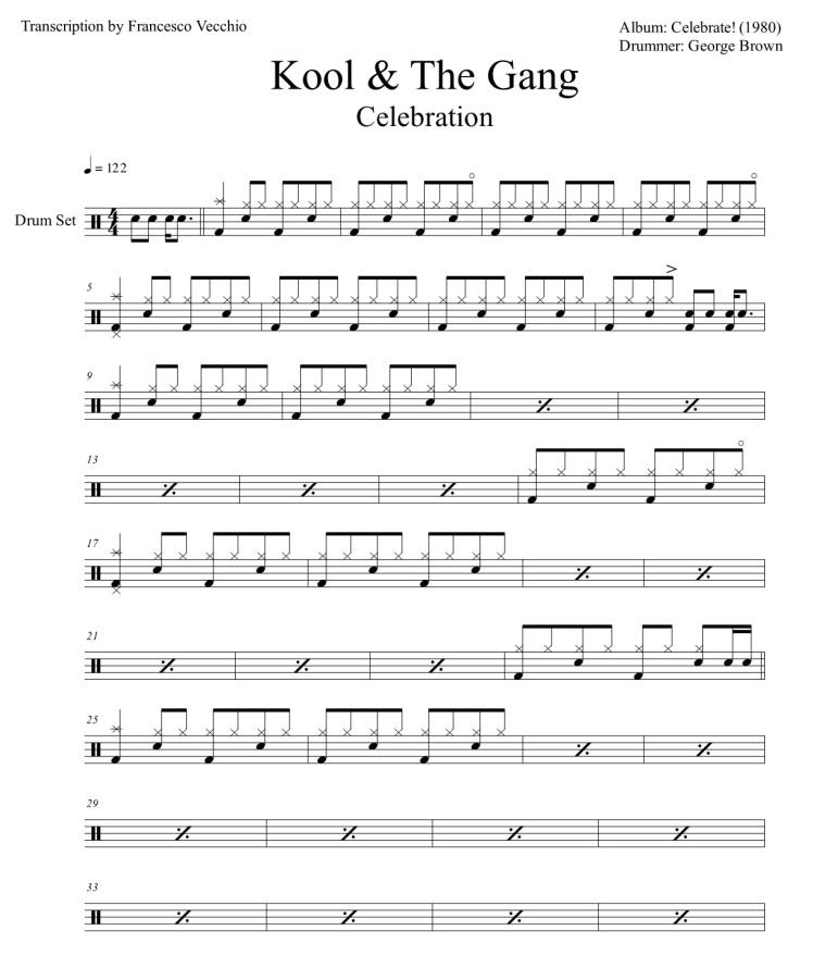 kool and the gang celebration drum sheet music