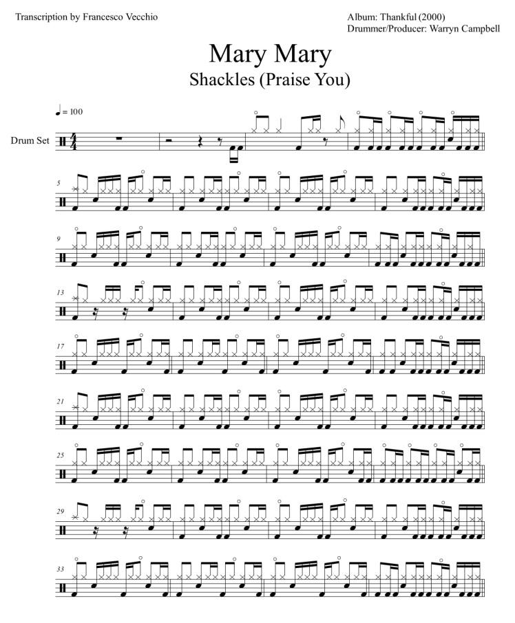 mary mary shackles drum transcription