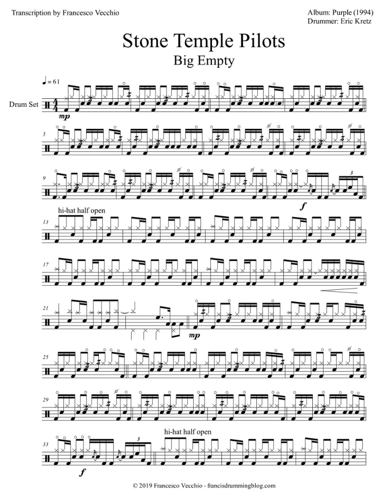 stone temple pilots big empty drum sheet music