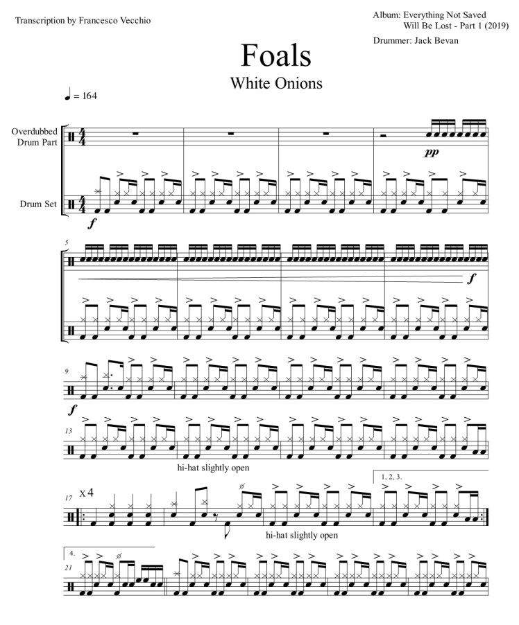 foals white onions drum transcription drum score