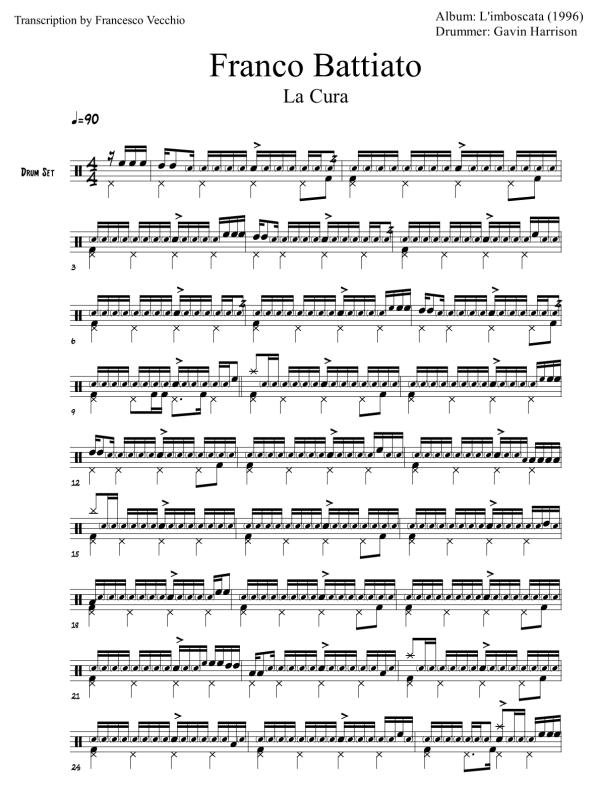 franco battiato la cura drum transcription