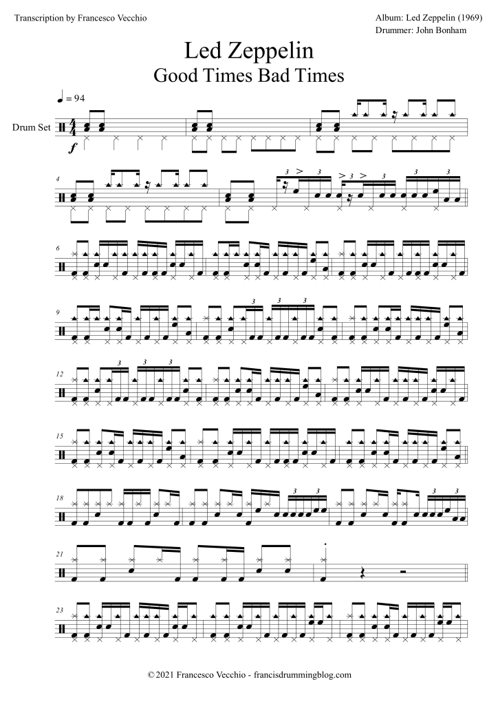 led zeppelin good times bad times drum transcription