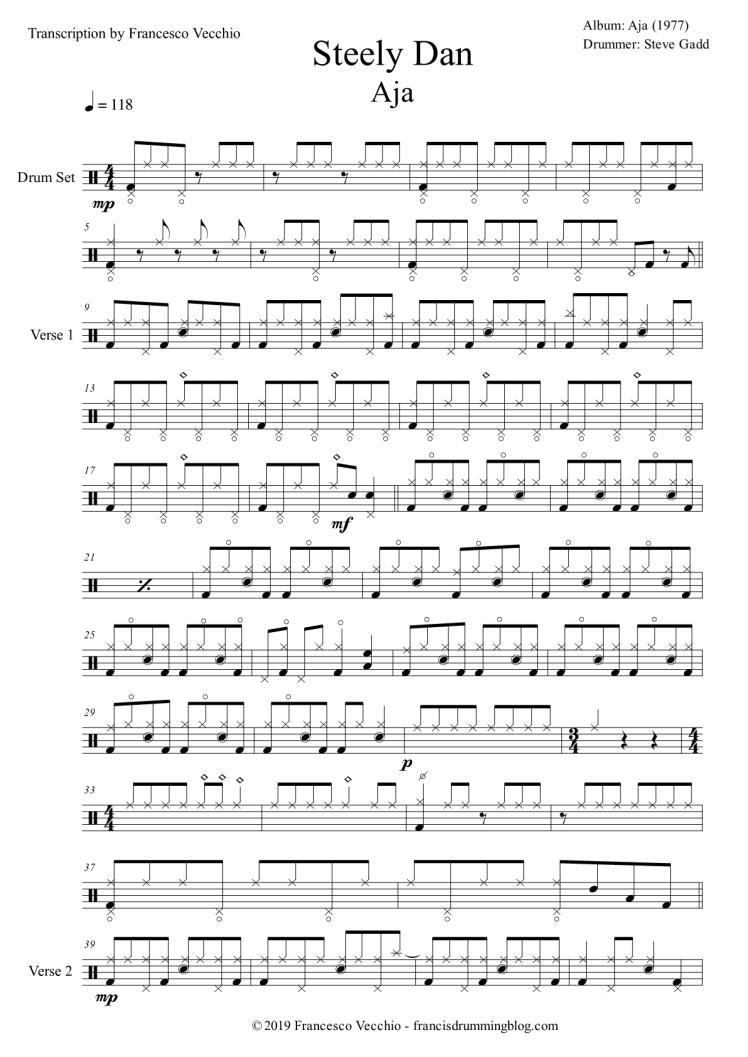steve gadd aja drum transcription