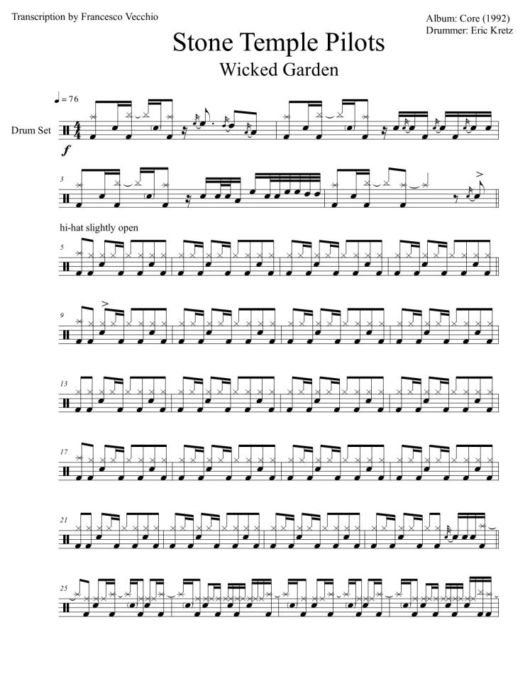 stone temple pilots drum transcription