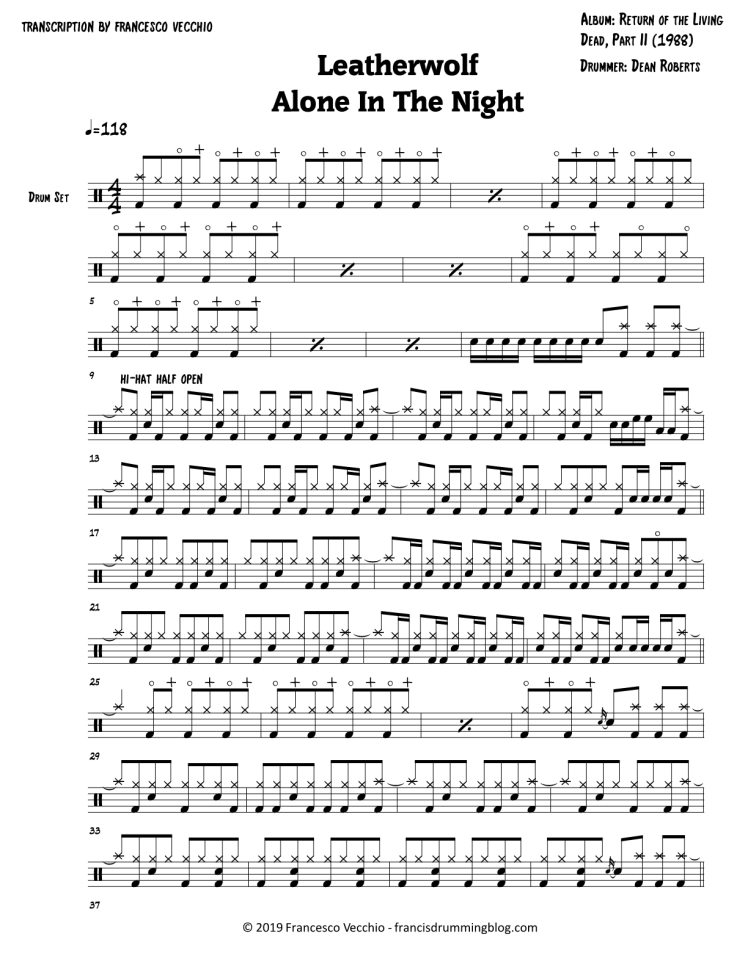 leatherwolf alone in the night drum sheet music