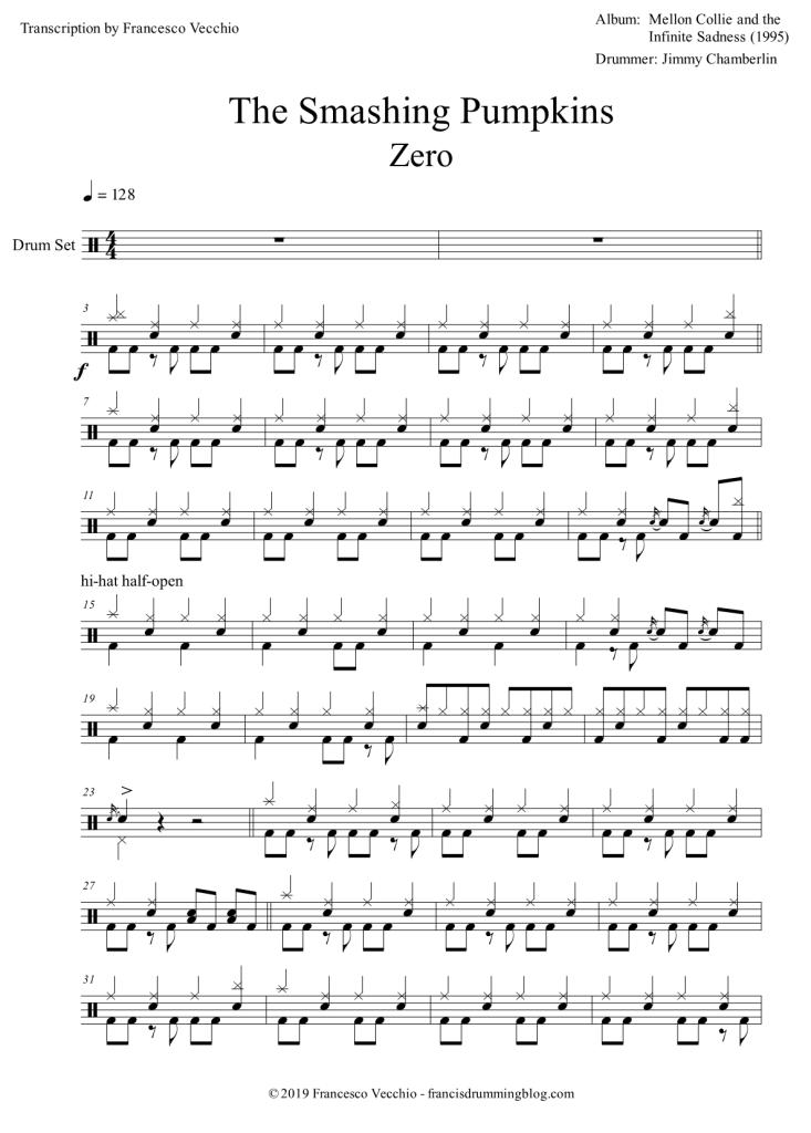 smashing pumpkins zero drum transcription