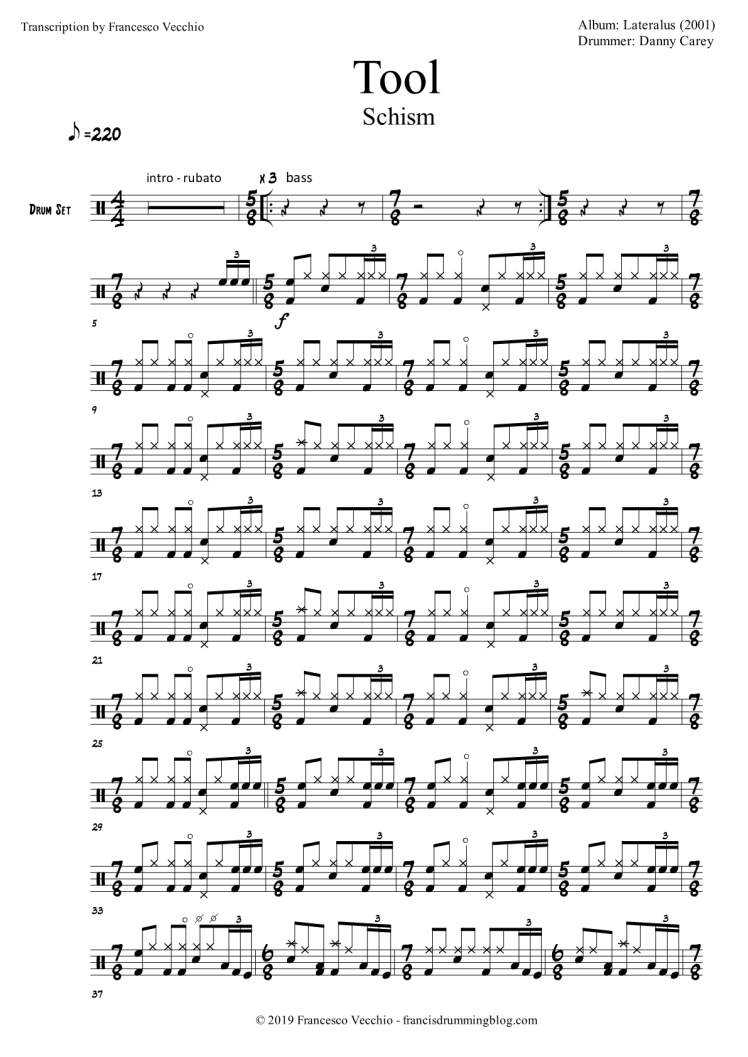 tool schism danny carey drum transcription
