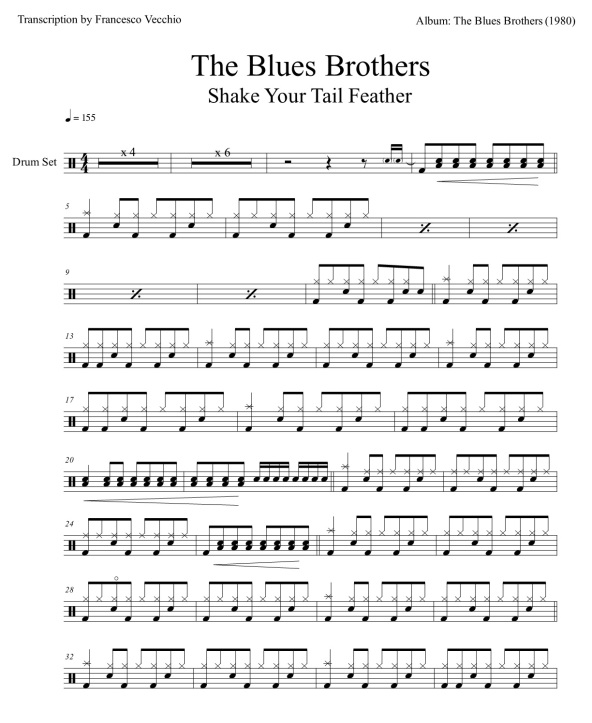 the blues brothers shake your tail feather drum sheet music