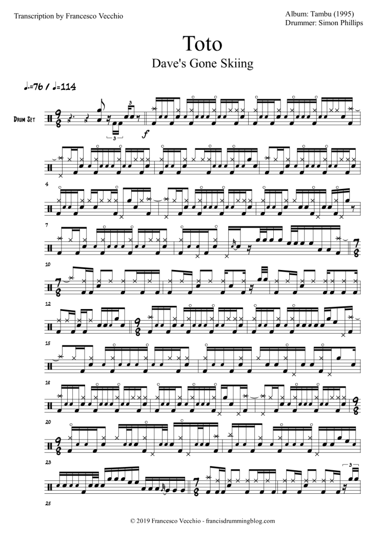 toto dave's gone skiing drum transcription