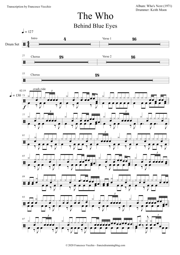 the who behind blue eyes drum transcription