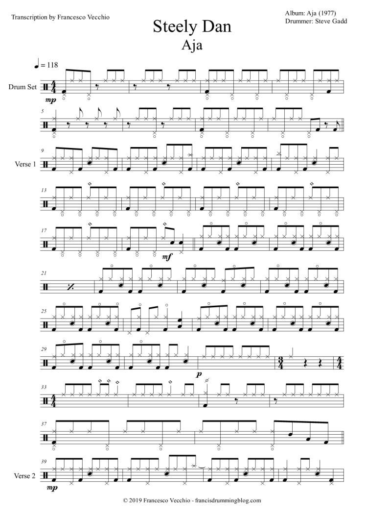 steely dan aja drum sheet music