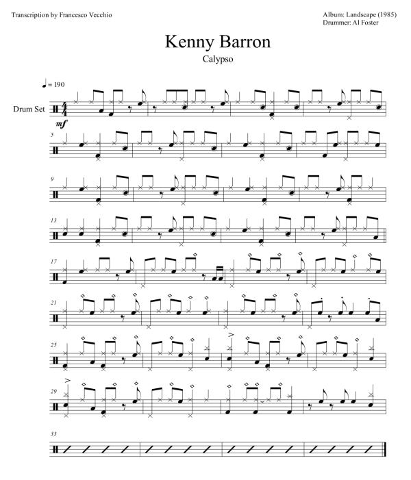kenny barron calypso al foster drum transcription