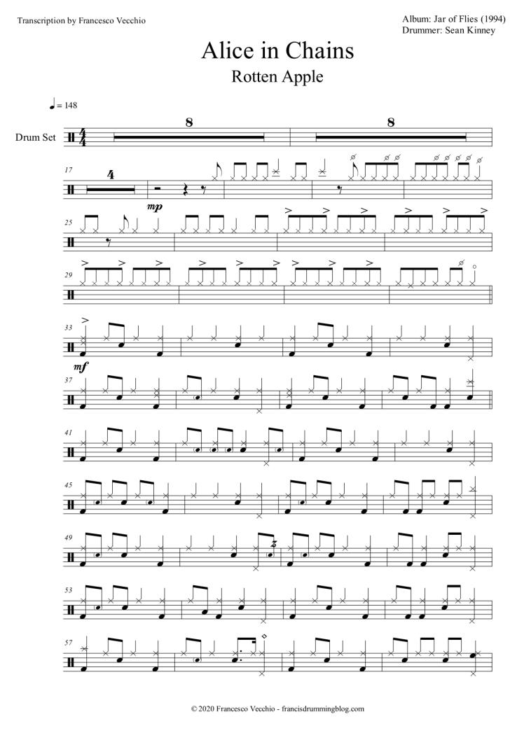 alice in chains rotten apple drum transcription