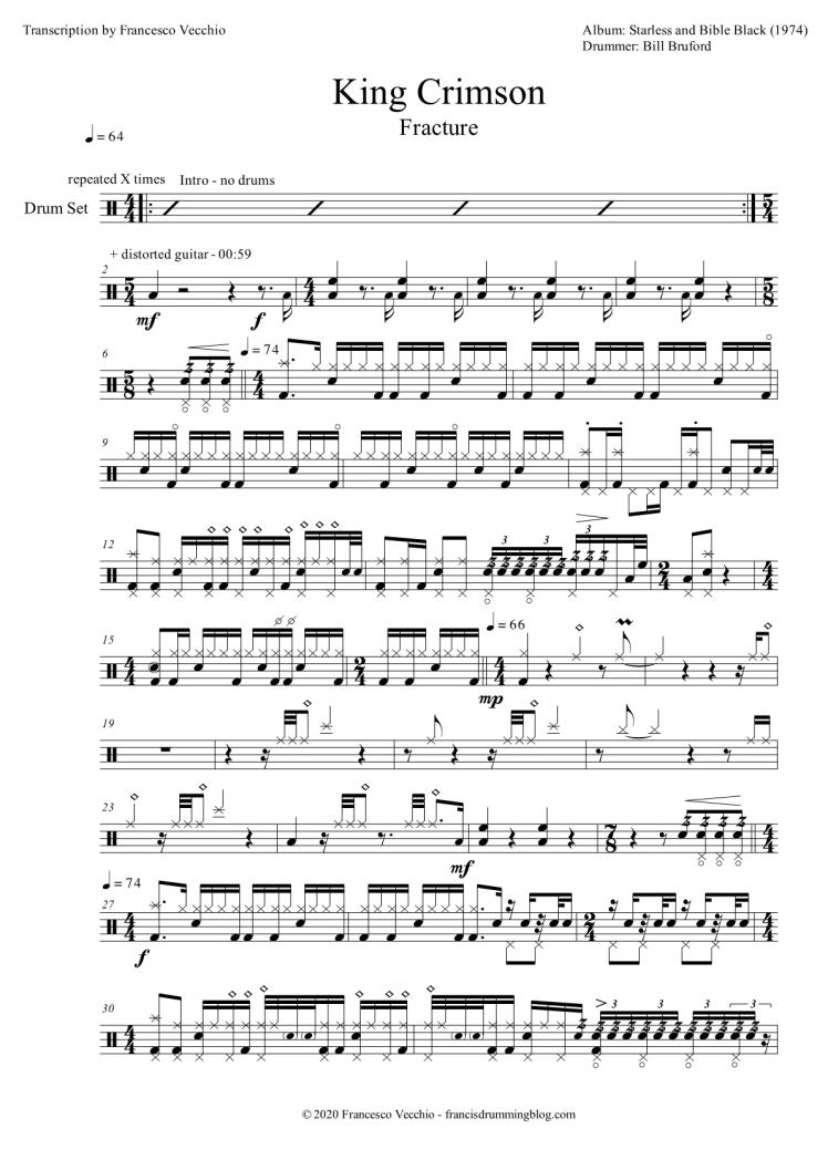 king crimson fracture drum sheet music