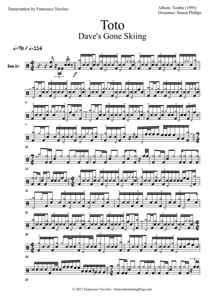 toto daves gone skiing simon phillips drum transcription