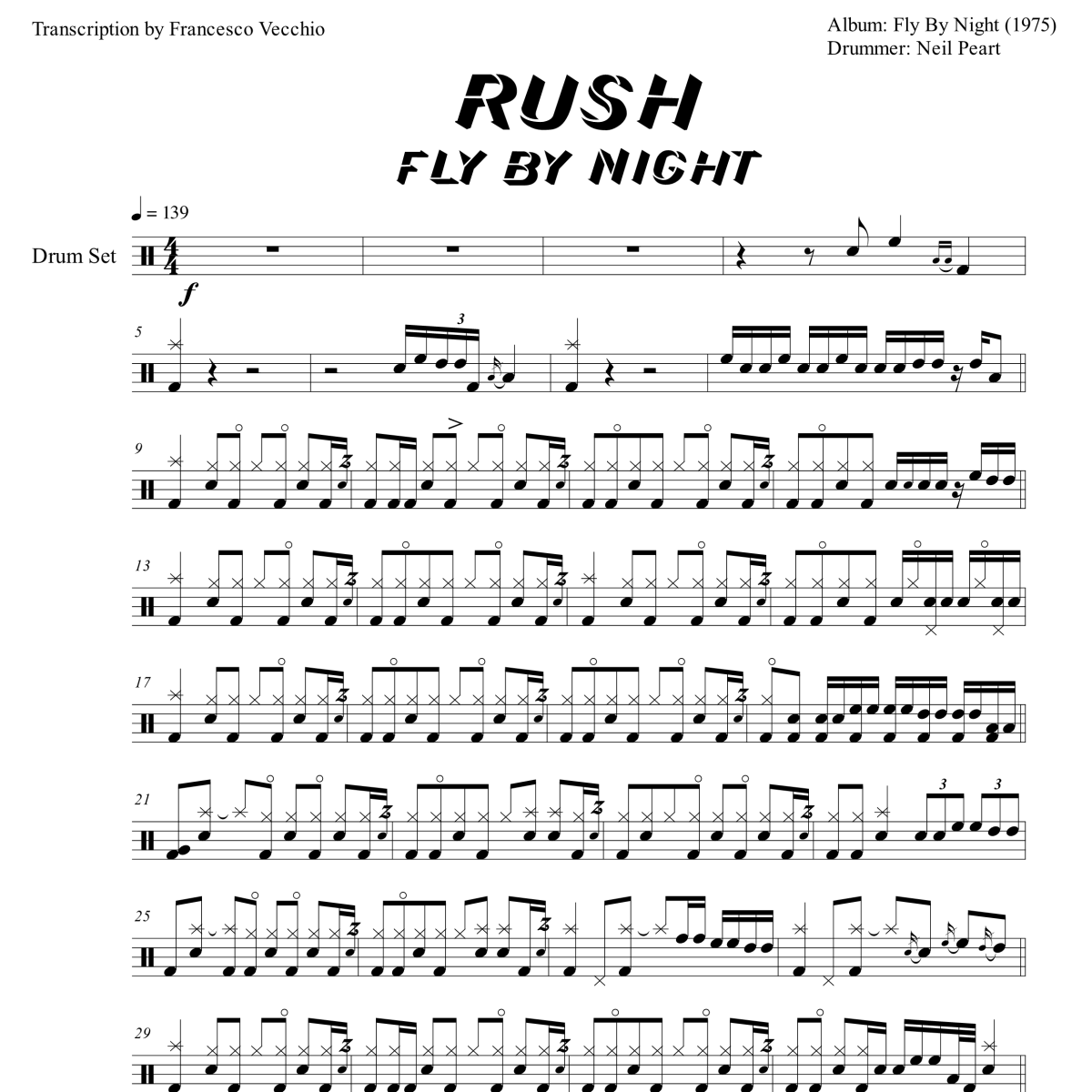 rush fly by night drum transcription
