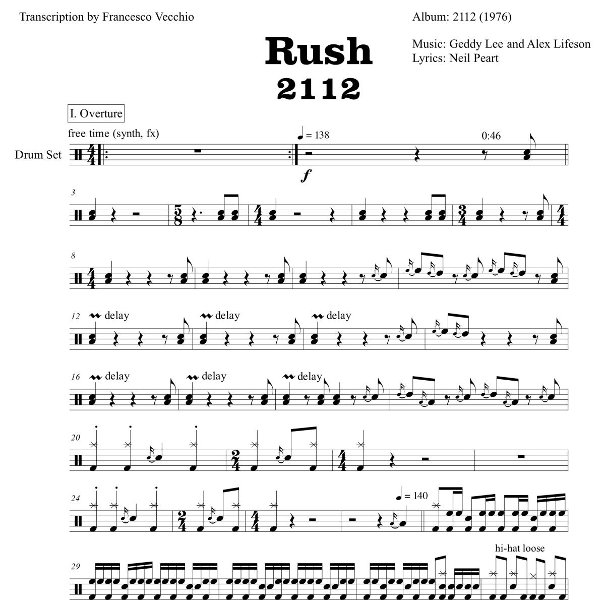 neil peart 2112 drum transcription
