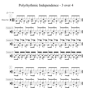 polyrhythmic independence 3 over 4 exercise