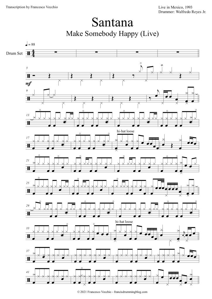 santana make somebody happy drum transcription